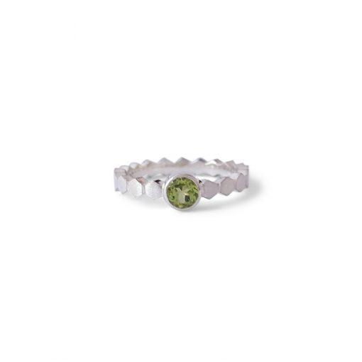 Zilveren Peridoot Ring Hexa
