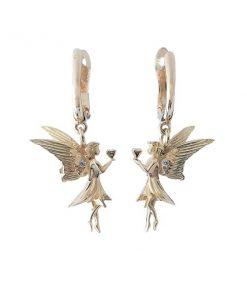 Gouden Diamanten Engeltjes Oorbellen