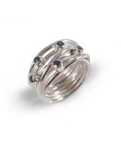 Zilveren draadring met Hematiet