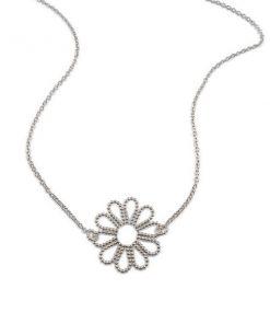 Zilveren Bloemen Collier
